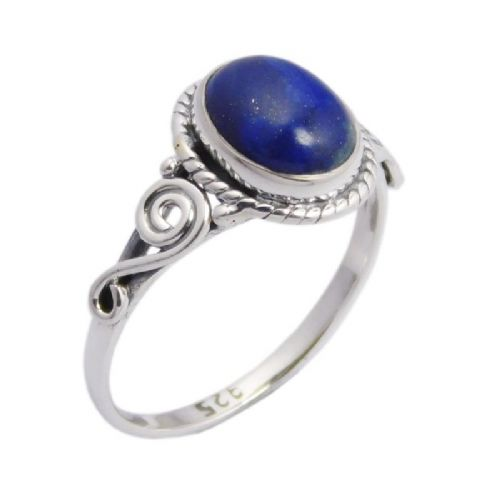 Lapis Lazuli Oval Swirl Ring ~ Sterling Silver
